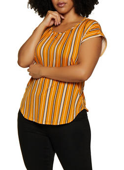 Plus Size Printed Short Sleeve Top - 9429020623805