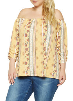 Plus Size Printed Off the Shoulder Top - 9429020624693
