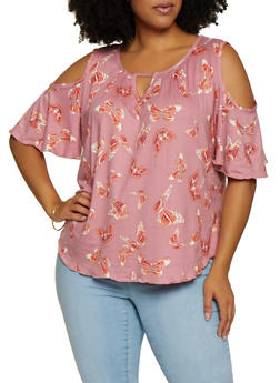 Plus Size Printed Soft Knit Cold Shoulder Top - 9429020625779