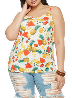 Plus Size Fruit Print Tank Top - 9429020626147