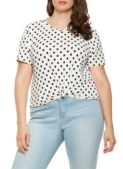 Plus Size Polka Dot Tee - 9429020626154