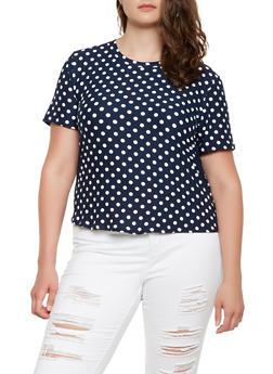 Plus Size Polka Dot Tee - 9429020626154