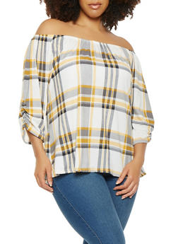Plus Size Plaid Off the Shoulder Top - MUSTARD - 9429020626262