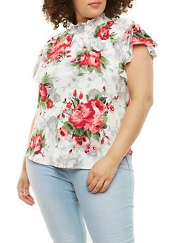 Plus Size Printed Smocked Neck Top - 9429020626263