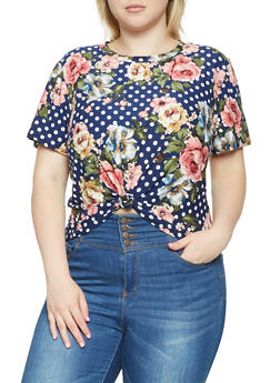 Plus Size Floral Striped Soft Knit Tee - 9429020626334