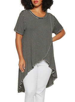 Plus Size Striped High Low Top - 9429020626352