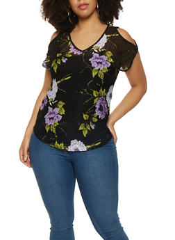 Plus Size Printed Sheer Cold Shoulder Top - 9429020626636