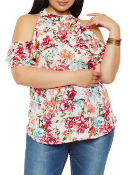 Plus Size Ruffled Floral Cold Shoulder Top - 9429020626688
