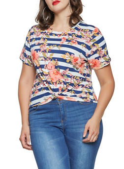 Plus Size Striped Floral Knot Front Top - 9429020627233