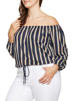 Plus Size Striped Off the Shoulder Top - 9429020627356