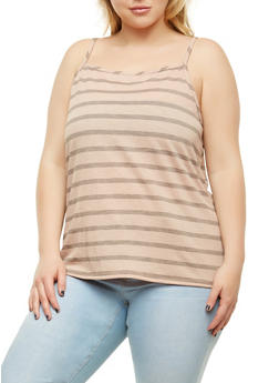 Plus Size Striped Tank Top - 9429020627425