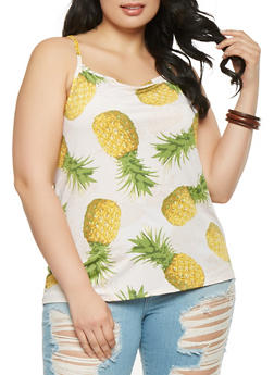Plus Size Pineapple Print Cami - 9429020627474