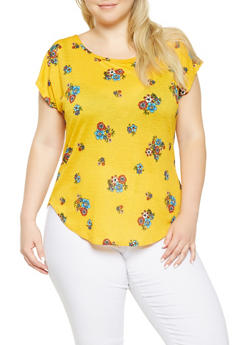 Plus Size Floral Textured Knit Top - 9429020627848