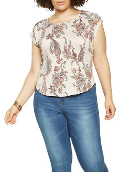 Plus Size Faux Button Detail Printed Top - 9429020629202