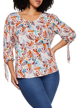 Plus Size Printed Scoop Neck Top - 9429020629567