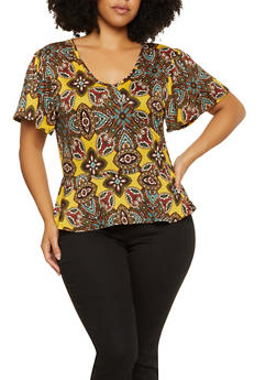 Plus Size Printed Peplum Top - 9429020629638
