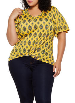 Plus Size Twist Front Printed Tee - 9429020629655