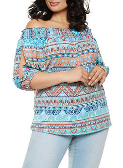 Plus Size Smocked Off the Shoulder Paisley Top - 9429020629756