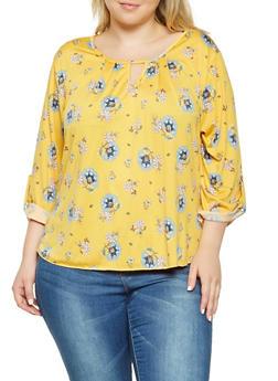 Plus Size Floral Keyhole Blouse - 9429020629785