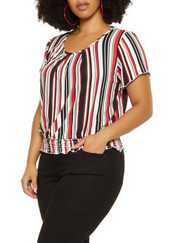 Plus Size Smocked Waist Striped Top - 9429020629917