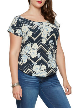 Plus Size Printed Soft Knit Tee - 9429020629980