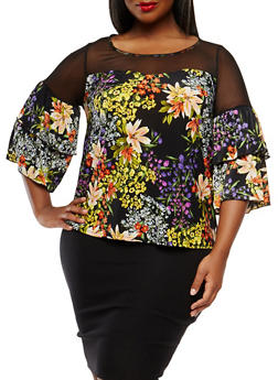 Plus Size Mesh Yoke Floral Top - 9429056124449