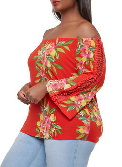 Plus Size Floral Crochet Insert Off the Shoulder Top - 9429056129644