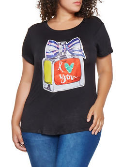 Plus Size Faux Pearl Graphic Tee - 9429058758551
