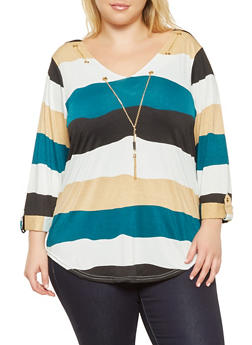 Plus Size Striped Top with Necklace - 9429062702285