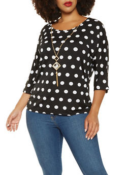 Plus Size Polka Dot Top with Necklace - 9429062702286