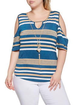 Plus Size Striped Cold Shoulder Top with Necklace - 9429062702291