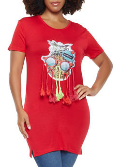Plus Size Graphic Patch Tunic Tee - 9429062702510