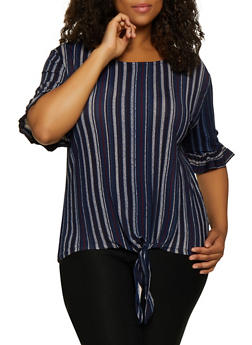 Plus Size Ruffle Sleeve Striped Top - 9429062702854