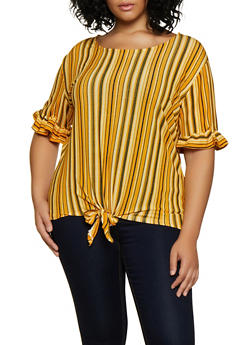 Plus Size Ruffle Sleeve Striped Top - 9429062702854