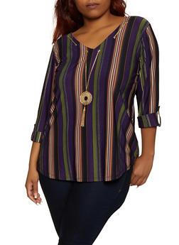 Plus Size Threaded Neckline Striped Top - 9429062703013