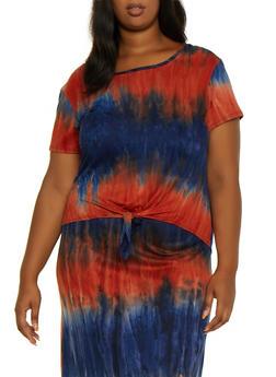 Plus Size Soft Knit Tie Dye Top - 9429062705287