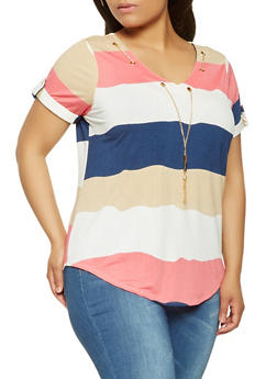 Plus Size Striped Top with Necklace - 9429062706583