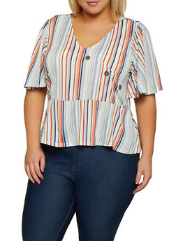 Plus Size Vertical Striped Button Detail Top - 9429075171026