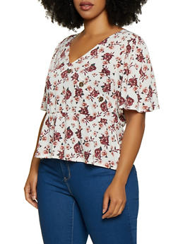 Plus Size Rose Print Faux Wrap Top - 9429075172026