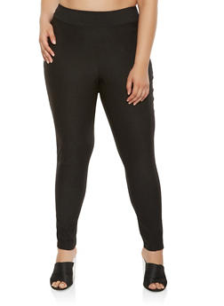 Plus Size Solid Stretch Pants - 9441020621236