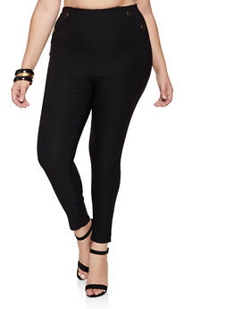 Plus Size Button Detail Stretch Pants - 9441020622713
