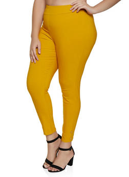 Plus Size Button Detail Pull On Jeggings - 9441020622732