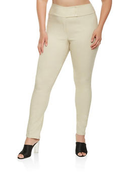 Plus Size Tabbed Button Chinos - 9441020625732