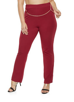 Plus Size Chain Detail Dress Pants - 9441020625852