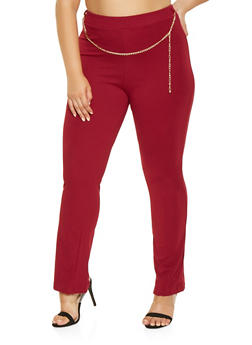 Plus Size Chain Detail Dress Pants - 9441020627437