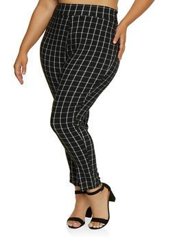Plus Size Plaid Pull On Pants - 9441020627897