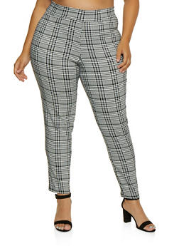 Plus Size Plaid Pull On Pants - 9441020627897