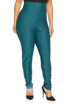 Plus Size Striped Dress Pants - 9441020628976
