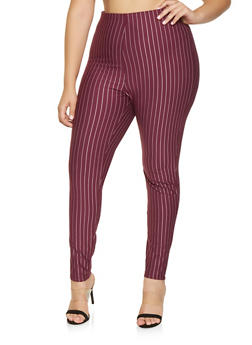 Plus Size Striped Dress Pants - 9441020628976