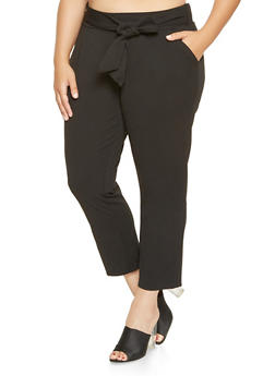 Plus Size Tie Front Dress Pants - 9441056574277